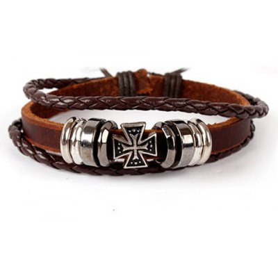 Characteristic Cross Layered Faux Leather Men's Bracelet