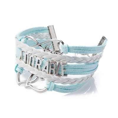 Stylish Letter Openwork Heart Weaved Layered Friendship Bracelet For Women