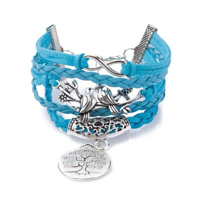 Chic Birds Tree Pattern Weaved Friendship Bracelet For Women