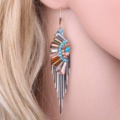 Pair of Classic Faux Crystal Fan-Shaped Chain Tassels Beads Women's Earrings