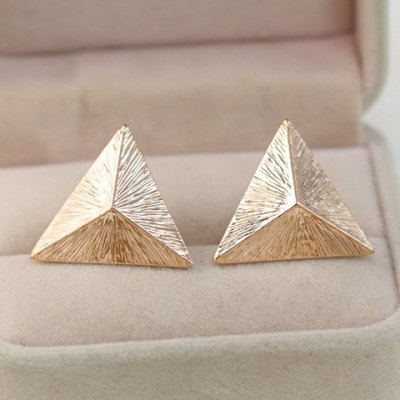 Pair of Casual Cubic Triangle Earrings For Women