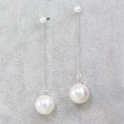 Pair of Stylish Round Pendant Faux Pearl Earrings For Women