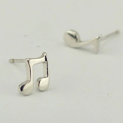 Pair of Stylish Music Note Solid Color Asymmetric Women's Earrings