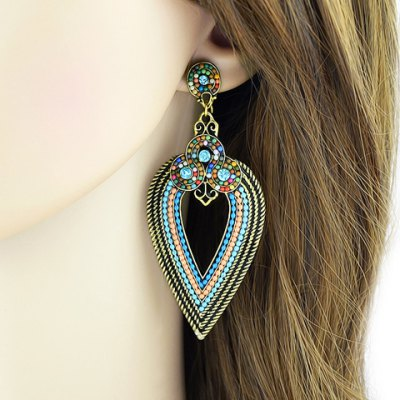 Pair of Retro Colored Beads Leaf Women's Earrings