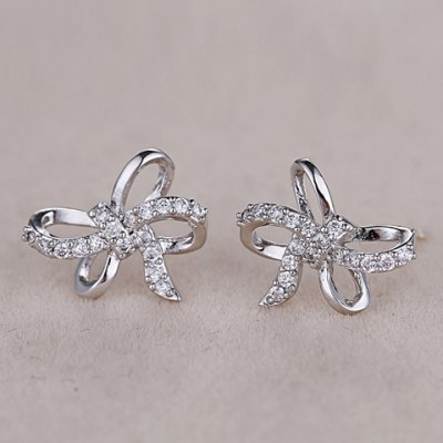 Pair of Stylish Chic Bow Shape Zircon Earrings For Women