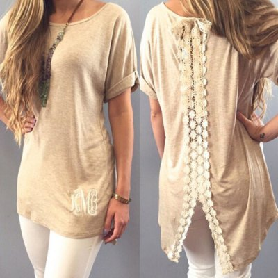 Stylish Short Sleeve Scoop Neck Lace Embellished Womens T-ShirtWomens T-Shirts<br>Stylish Short Sleeve Scoop Neck Lace Embellished Womens T-Shirt<br><br>Material: Cotton Blends<br>Clothing Length: Long<br>Sleeve Length: Short<br>Collar: Scoop Neck<br>Style: Fashion<br>Pattern Type: Patchwork<br>Weight: 0.178KG<br>Package Contents: 1 x T-Shirt