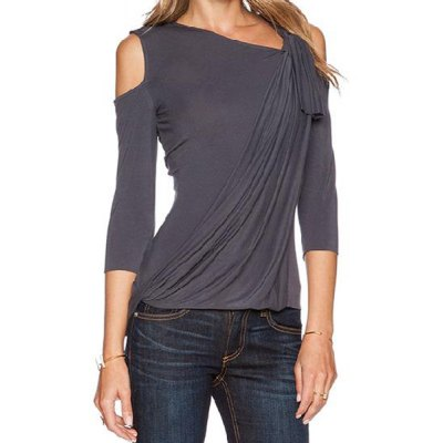 Stylish Skew Neck 3/4 Sleeve Asymmetrical Hollow Out Womens T-ShirtWomens T-Shirts<br>Stylish Skew Neck 3/4 Sleeve Asymmetrical Hollow Out Womens T-Shirt<br><br>Material: Polyester<br>Clothing Length: Regular<br>Sleeve Length: Three Quarter<br>Collar: Skew Collar<br>Style: Fashion<br>Pattern Type: Solid<br>Weight: 0.282KG<br>Package Contents: 1 x T-Shirt