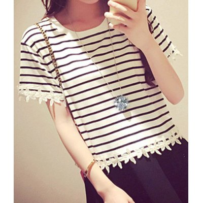Stylish Scoop Neck Short Sleeve Striped Lace Splicing T-Shirt For WomenWomens T-Shirts<br>Stylish Scoop Neck Short Sleeve Striped Lace Splicing T-Shirt For Women<br><br>Material: Polyester,Cotton Blends<br>Clothing Length: Regular<br>Sleeve Length: Short<br>Collar: Scoop Neck<br>Style: Fashion<br>Pattern Type: Striped<br>Weight: 0.350KG<br>Package Contents: 1 x T-Shirt