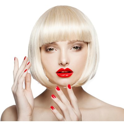 Charming Capless Sparkling Light Blonde Short Neat Bang Synthetic Bob Straight Wig For Women