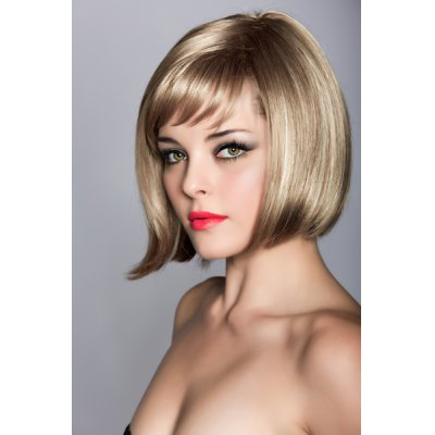 Blonde Side Bang Trendy Capless Short Heat Resistant Synthetic Straight Bob Wig For Women