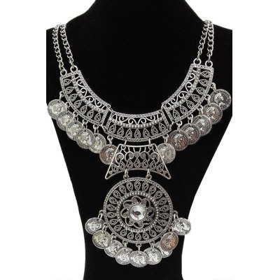 Фотография Retro Rhinestone Coin Necklace For Women