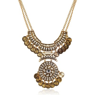 Retro Rhinestone Coin Necklace For Women