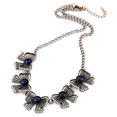 Vintage Faux Gem Bow Necklace For Women
