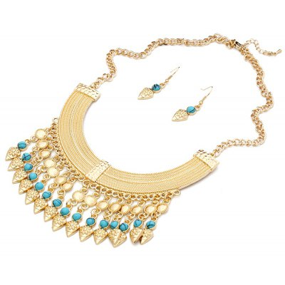 Classic Turquoise Inlaid Necklace And Earrings For Women