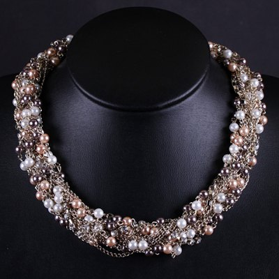 Trendy Delicate Rhinestone Faux Pearl Twisted Necklace For Women