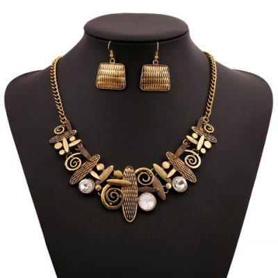 A Suit Hyperbolic Vintage Beads Geometric Handbag Pendant Necklace And Earrings For Women