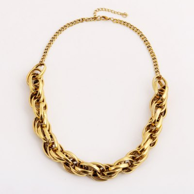 Stylish Twisted Solid Color Necklace For WomenNecklaces &amp; Pendants<br>Stylish Twisted Solid Color Necklace For Women<br><br>Item Type: Chokers Necklace<br>Gender: For Women<br>Style: Trendy<br>Shape/Pattern: Geometric<br>Length: 50CM<br>Weight: 0.13KG<br>Package Contents: 1 x Necklace