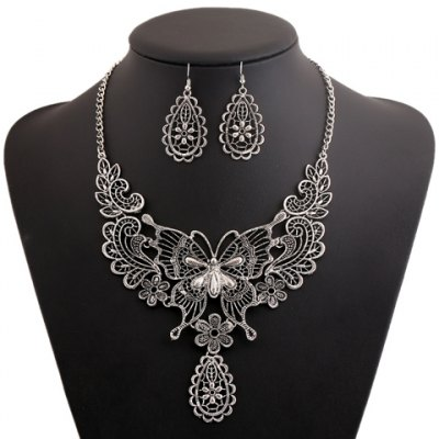 A Suit Stylish Chic Floral Butterfly Pendant Necklace And Earrings For Women