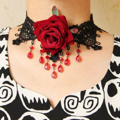 Retro Gothic Lace Flower Drop Beads Necklace For Women