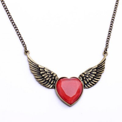 Stylish Retro Faux Gem Heart Wings Pendant Necklace For Women