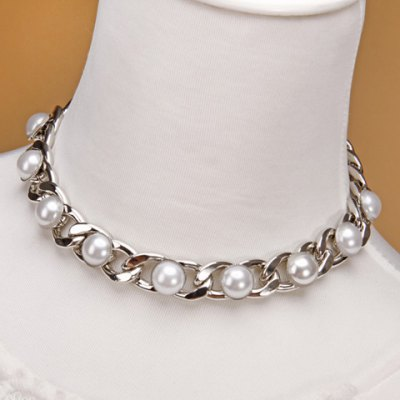 Stylish Faux Pearl Link Women's Necklace