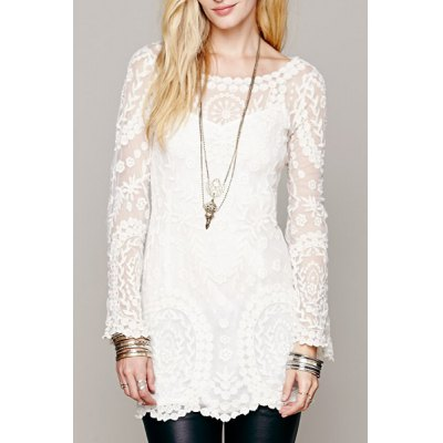 Scoop Collar Long Sleeve See-Through Solid Color Lace Dress