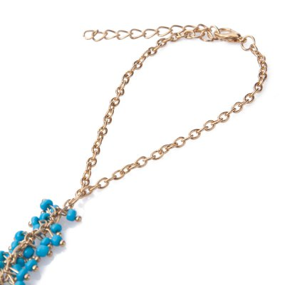 Chic Beads Decorated Bracelet With Ring For Women