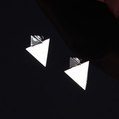 Pair of Stylish Solid Color Asymmetric Triangle Shape Earrings For Women
