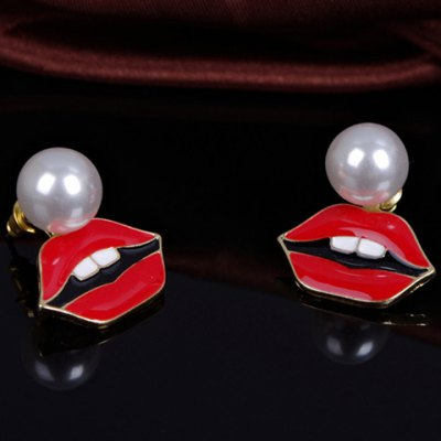 Pair of Sweet Faux Pearl Lips Shape Earrings For Women