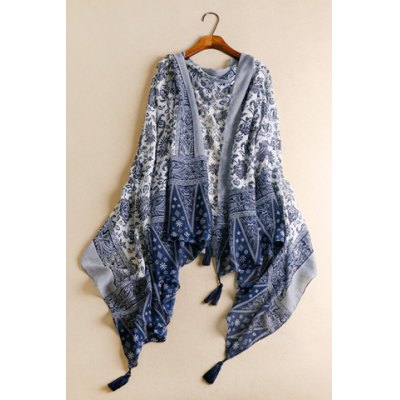 Chic Tassels Embellished Ethnic Printed Multifunctional Pashmina For Women