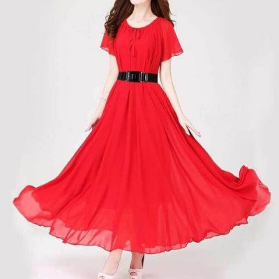 Scoop Neck Lace-Up Solid Color Chiffon Dress For Women