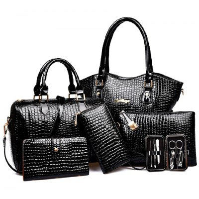 Crocodile Embossed Tote Handbag 6Pc Set
