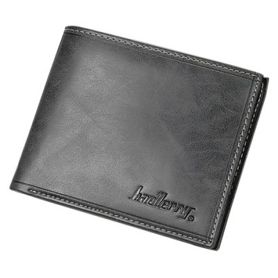 Simple Solid Color and Letter Print Design Men's Wallet