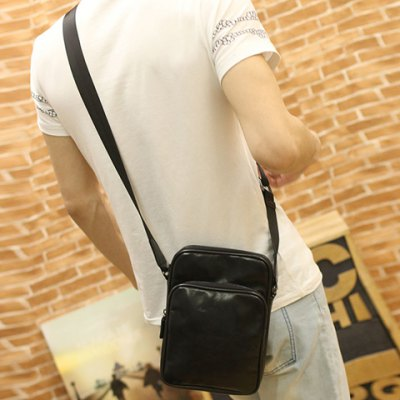 Fashion Style Solid Color and PU Leather Design Men's Messenger Bag