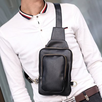 Simple Style PU Leather and Zipper Design Men's Messenger Bag