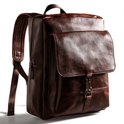 Preppy Zipper and PU Leather Design Men's Backpack