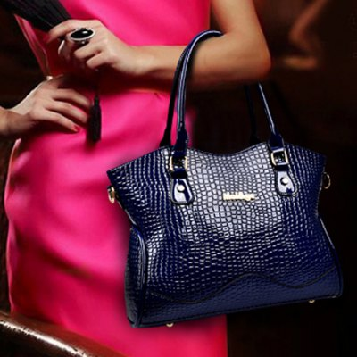 Stylish Style Solid Color and Crocodile Print Design Women's Tote Bag
