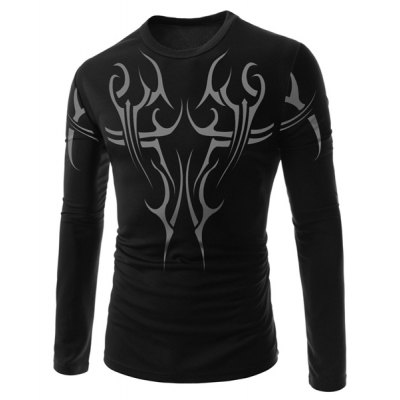 Stylish Round Neck Tattoo Print Slimming Long Sleeve Polyester T-Shirt For Men