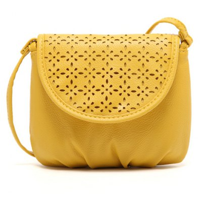 Sweet Style Solid Color and Hollow Out Design Women's Crossbody Bag
