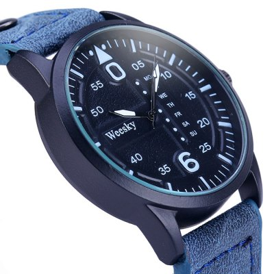 Weesky 1203G Decorative Day Male Quartz Watch with Leather Strap