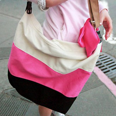 Stylish Laconic Casual Stripes and Canvas Design Women's Shoulder Bag