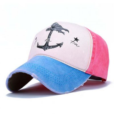Broken Hole Embellished Boat Anchor Stars Pattern Color Splice Visor For Women