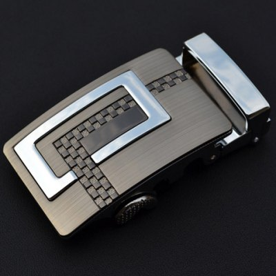 Latticed Shape and Silver Alloy Embellished Automatic Buckle For Men