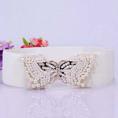 Chic Beading Splice Alloy Butterfly Shape Embellished Elastic Waistband For Women