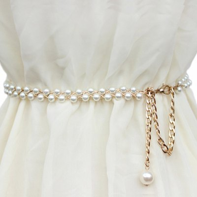 Chic Pendant Embellished Faux Pearl Waist Chain For Women