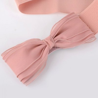Chic Yarn Bow Embellished Elastic Waistband For Women