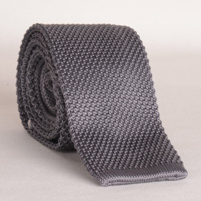 Gray Knitted Neck Tie For Men