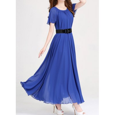 Ladylike Scoop Neck Lace-Up Solid Color Chiffon Dress For Women