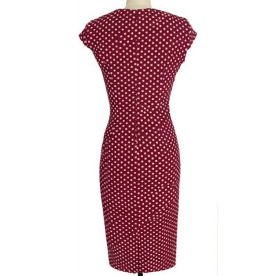 Stylish Jewel Neck Cap Sleeve Polka Dot Buttoned Bodycon Dress For Women от GearBest.com INT