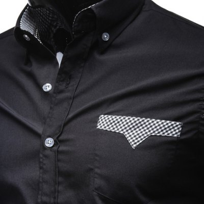 Stylish Shirt Collar Color Block Tiny Checked Splicing Slimming Long Sleeve Polyester Button-Down Shirt For Men
